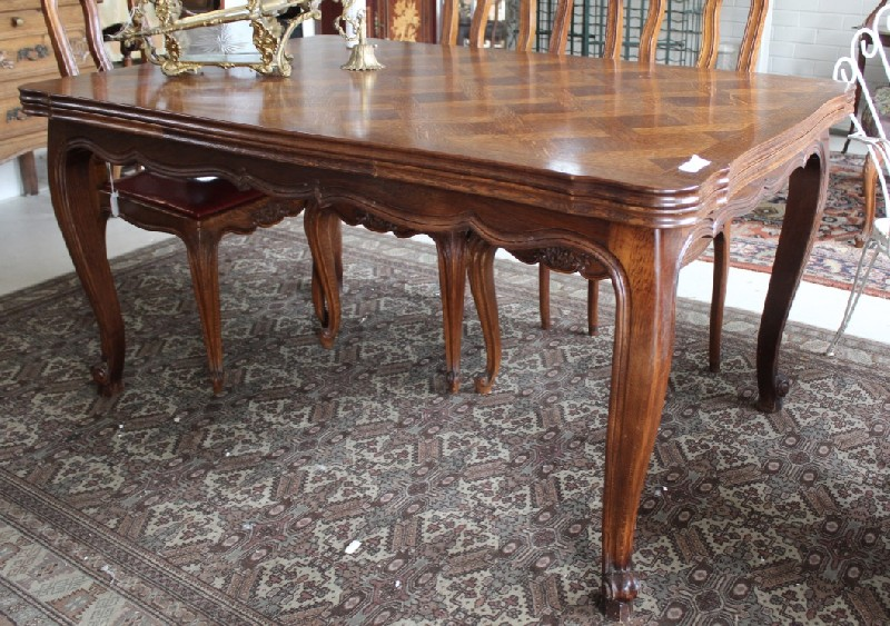 French provincial oak & parquetry top d-leaf table.