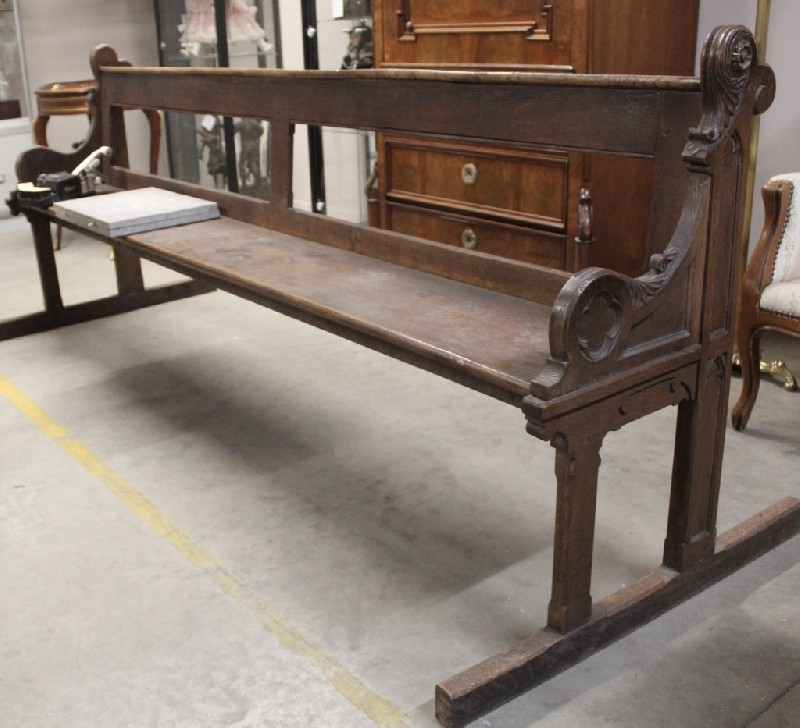 19th century French oak church pew or bench. Price $950