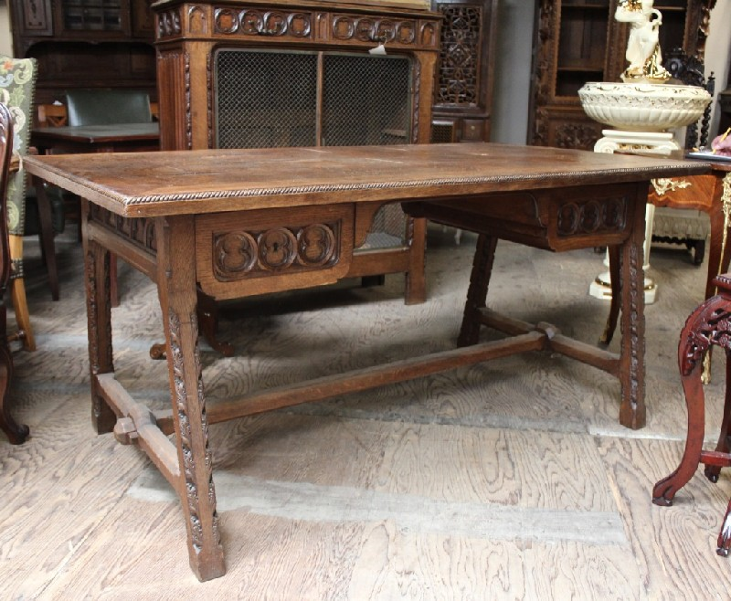 Fine French gothic carved oak two drawer writing bureau. Price $1650