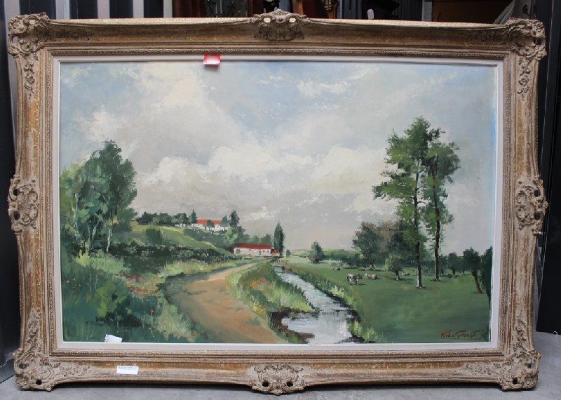 Large framed oil painting French country landscape, signed. Price $950