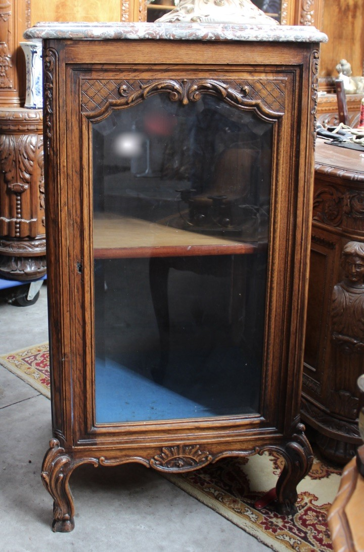 French Louis XVth walnut 1 door display cabinet with rouge marble top. Price $1050.