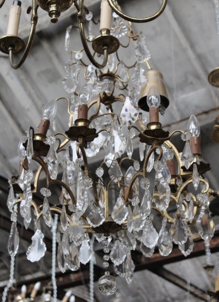 French bronze & crystal drop 8 branch chandelier. Price $1100