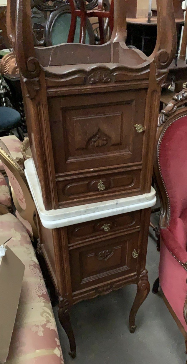 Pair of French Louis XVth oak & white marble top bedside cabinets. Price $990 pair